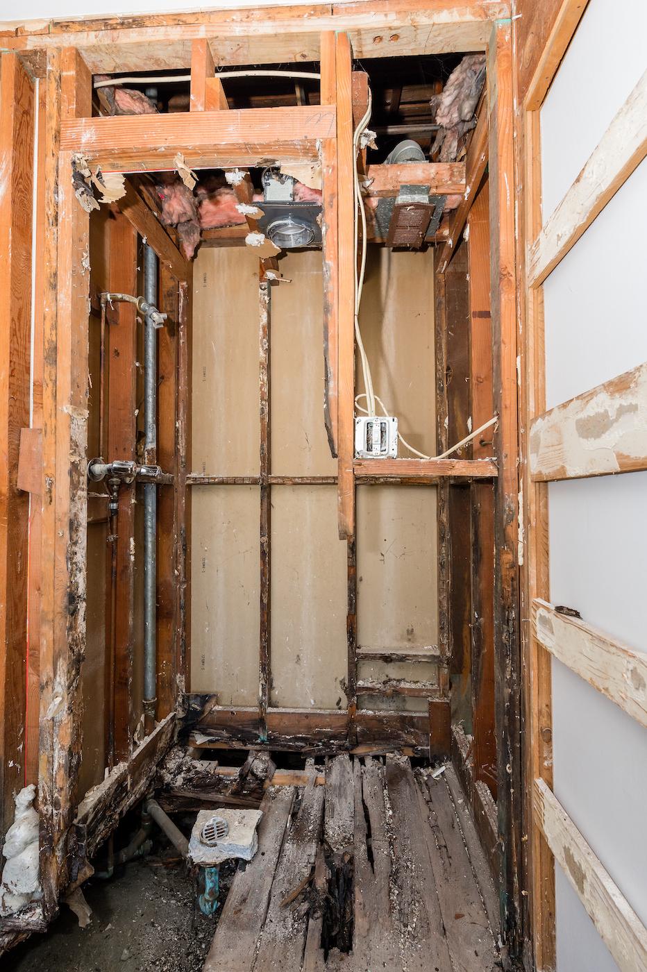 Wood damage found during demolition