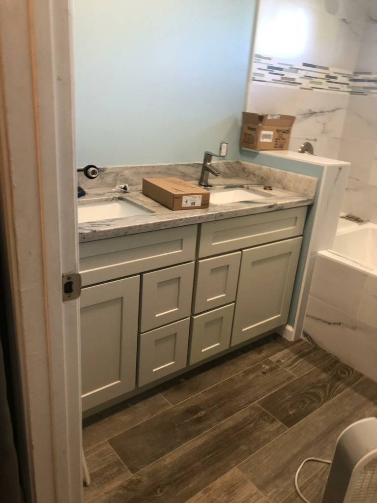 HomeTech bathroom remodel in progress. Clean and tidy.